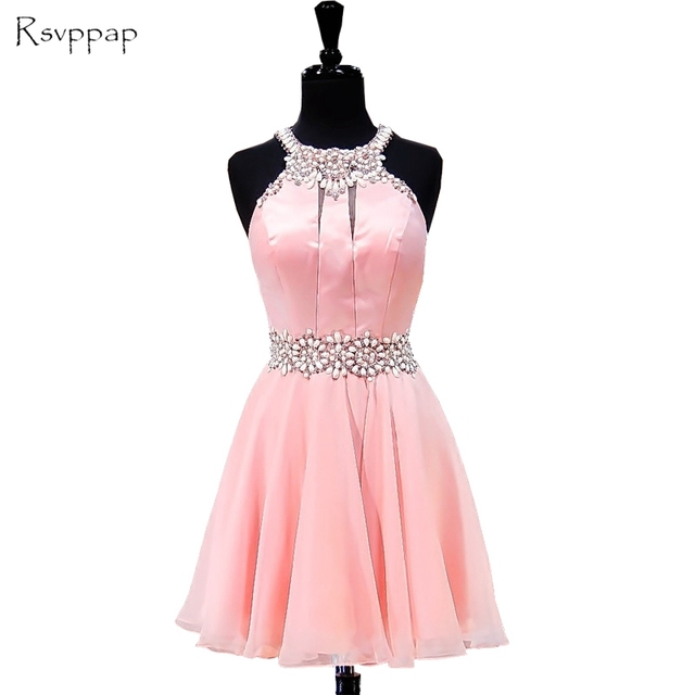 42c8f7c125b Real Picture Short Pink Homecoming Dress 2019 A-line Beaded Crystals Junior  Chiffon Party 8th Grade Prom Dresses