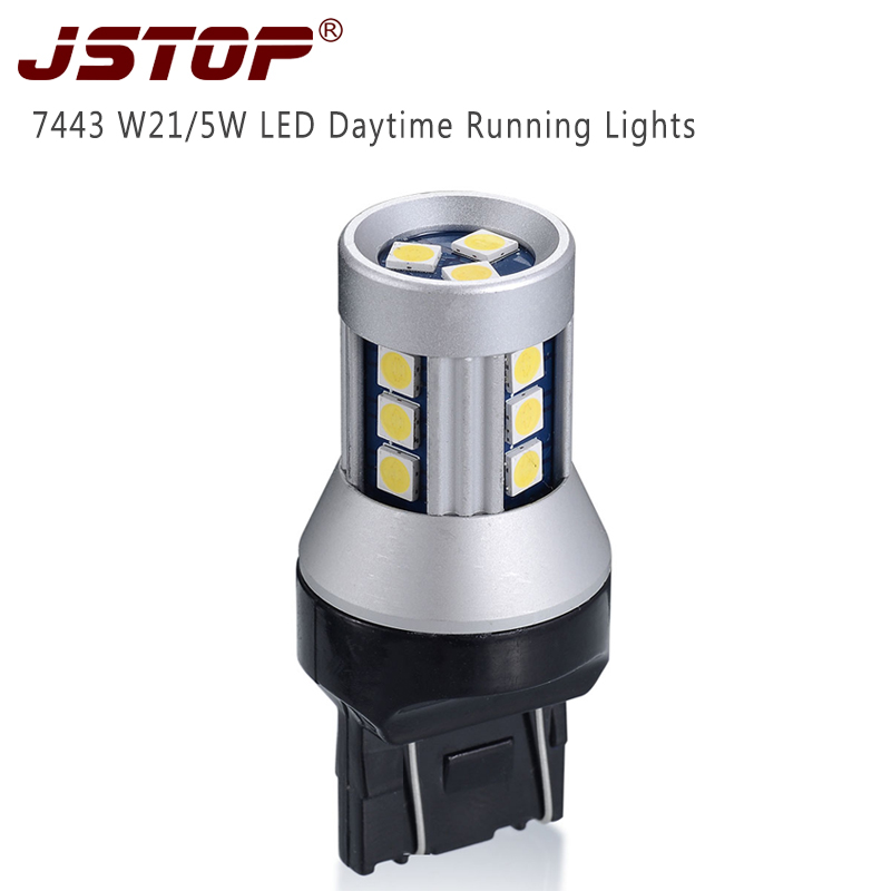 led car Daytime Running Light bulbs 7443 Canbus lamp 12V T20 daytime lights W21/5W auto Lamps bulbs External Lights daylighting 1x car led t20 7443 w21 5w auto rear light stop bulbs 21 5w external brake lights replacement halogen car styling parking lights