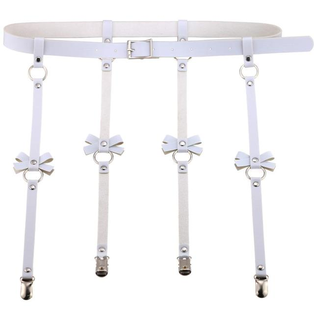 Unisex Men Women Sexy Punk Leather Waist Cincher Garter Belt with 4 Suspenders Straps and Detachable Bow Thigh Harness Loop