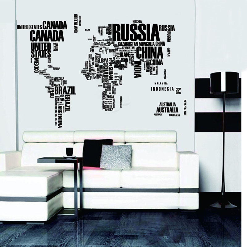 Letters world map wall stickers living room home decorations letters world map wall stickers living room home decorations creative pvc decal mural artdiy office wall art in wall stickers from home garden on gumiabroncs Image collections