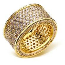 2017 Mejor diseño Clásico venda de Boda del Oro plateó La Joyería Cubic zircon Crystal Pave anillo anillos de moda de Alta calidad de piedra Claro