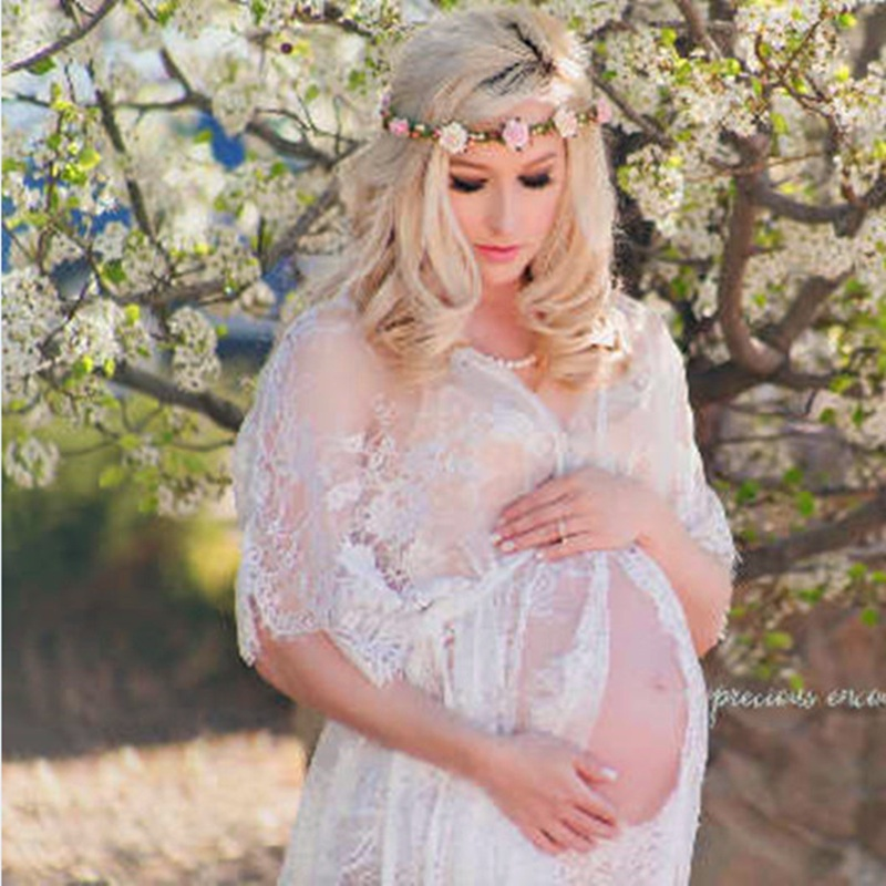 maternity photography props maxi Maternity gown Lace Maternity Dress Fancy shooting photo beach pregnant dress Plus hot maternity photography props pregnancy fancy dress lace robe strapless maxi gown maternity dress split front women long dress