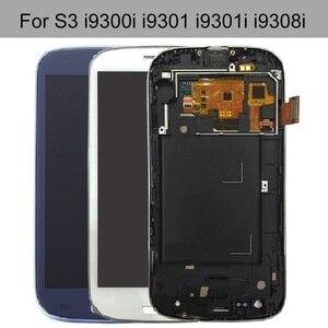 Para samsung galaxy s3 neo i9301 i9301i i9300 display lcd digitador da tela de toque sensor montagem do painel vidro + adesivo kits