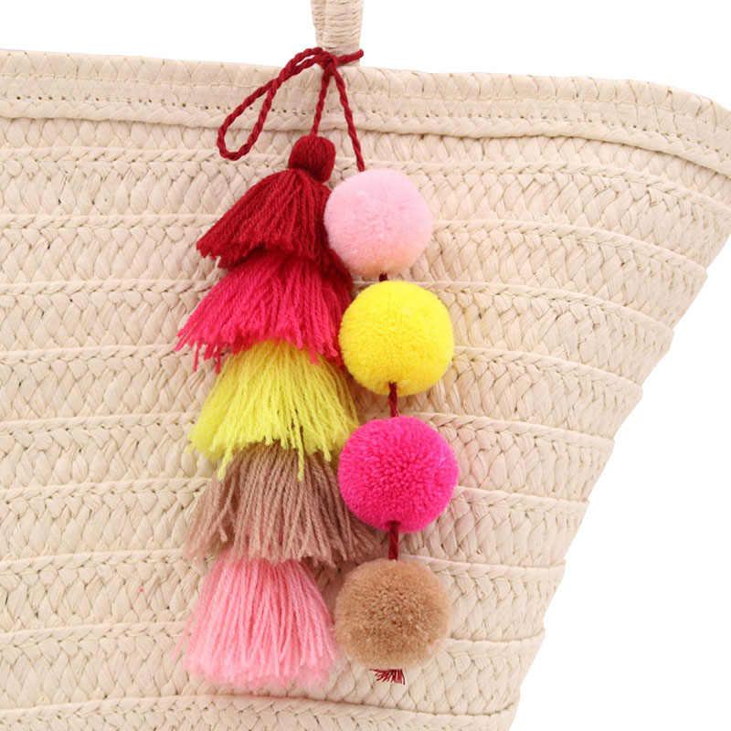 Hot Alta Qualidade Handmade Longo Tassel Broches para as mulheres Colorido Boho Pom meninas Acessórios Saco pingente