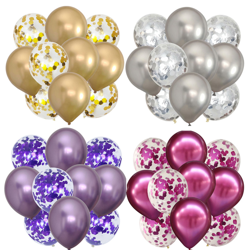 10Pcs 12inch Metallic Colors Latex Balloons Confetti Air Balloons Inflatable Ball For Birthday Party Balloon Wedding Decoration