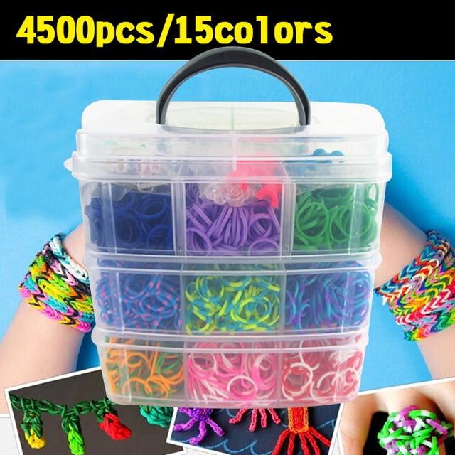 4500 Pcs Crazy And Fun Rubber Loom Bands Box 3 Layer Set Make Band Bracelet