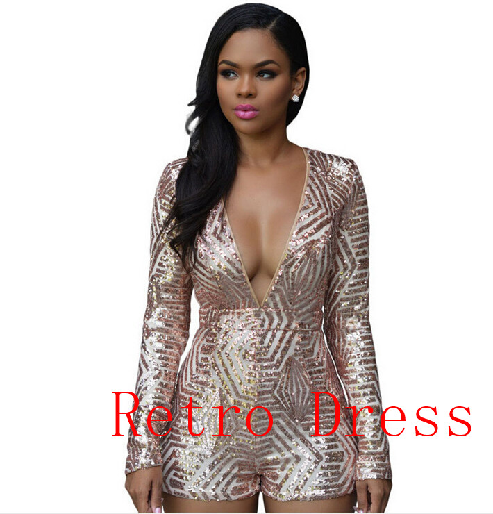 2016 New Fashion Sexy Deep V-Neck Black Gold Sequined Romper Playsuit Long Sleeve Sexy Hollow Back Sequin Jumpsuit Shorts