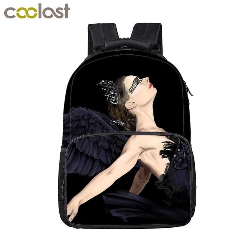 Vintage Ballet Swan Lake Backpack Women Travel Bags Female Laptop Backpack For Teenage Girls Children School Bags Kids Book Bag