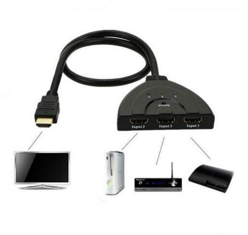 HDMI HUB 3 Ports 1080 P 3D HDMI AUTO Schalter-rangierlok-teiler mit Kabel für PC TV HDTV DVD PS3 Projektor Xbox 360 kabel