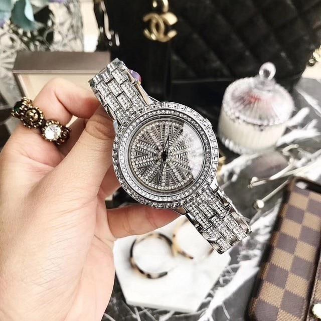 Donne Orologi di Marca di lusso di Cristallo Sliver Quadrante Fashion Design Bracciale Orologi da Donna Orologi Womenwrist Orologi Relogio Feminino 2018
