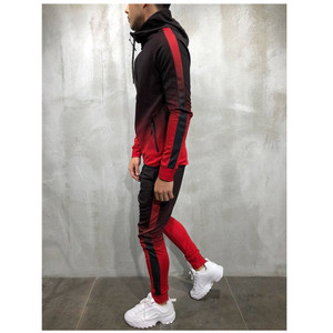 Image 5 - 2pcs men sportswear tracksuit zip up hoodies sweatshirt+pant running jogging leisure fitness gym workout athletic set sport suit