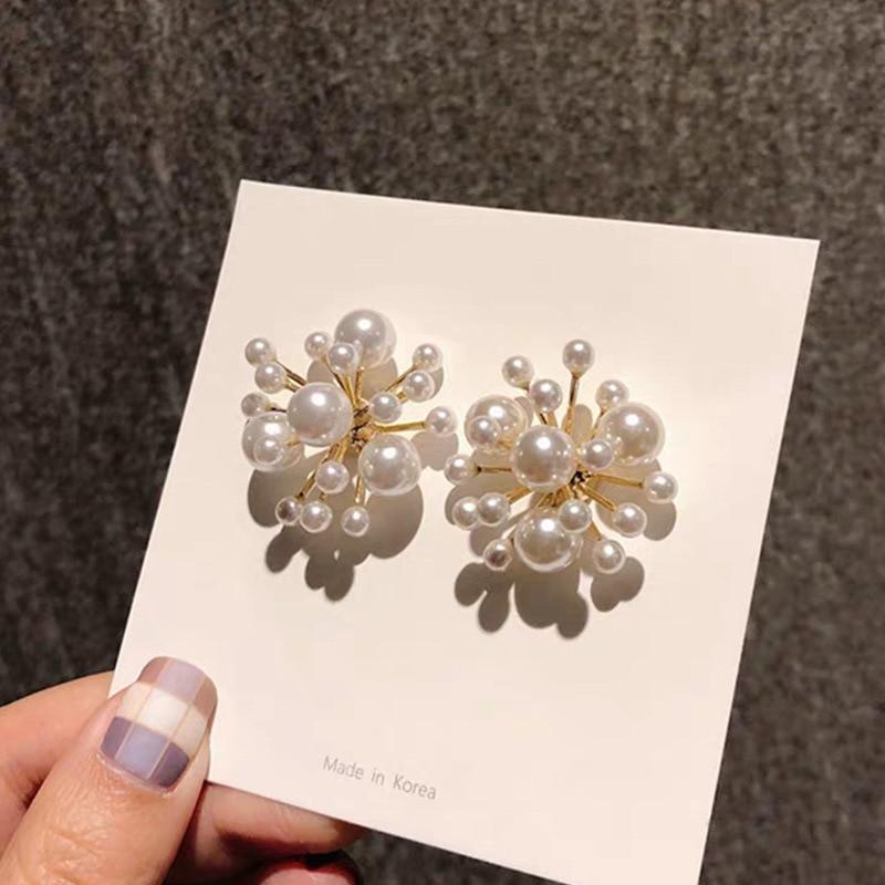 Competent 2019 Korean New Fireworks Design Simulated Pearl Flower Big Stud Earrings For Women Bride Wedding Jewelry Oorbellen Eh1102