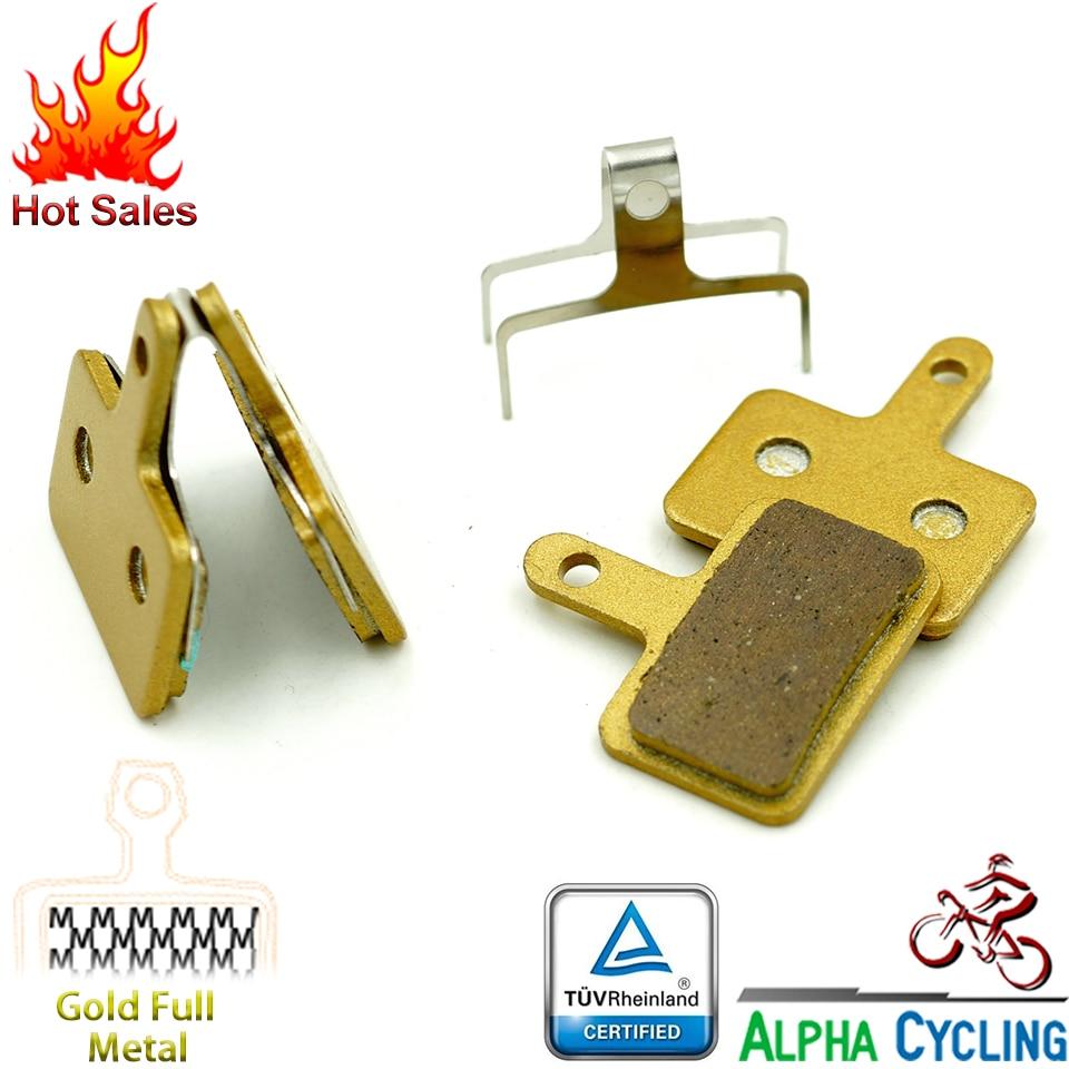 Pastillas de freno de disco de bicicleta para SHIMANO M375 M395 M486 M485 M475 M416 M446 M515 M445 M525 Freno de disco, 2 pares / ORD, metal dorado