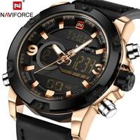 NAVIFORCE Clock Men Watch Sport Mens Watches Top Brand Luxury Military Army Leather Analog LED Digital Quartz Male Watch Wrist