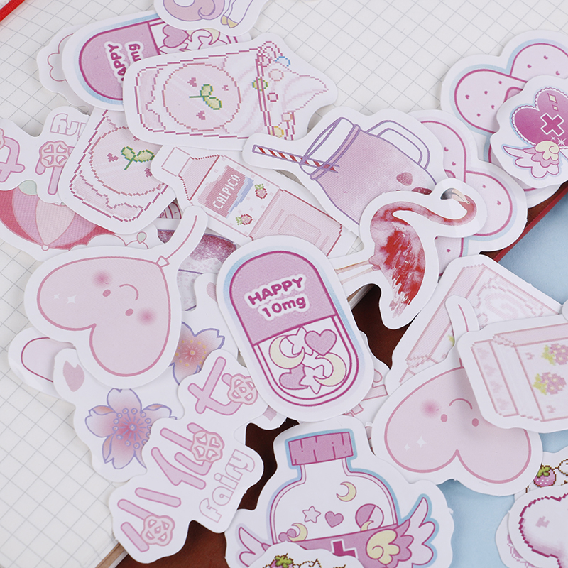 1 Set Girlhood Pink Journal Stickers Set DIY Diary Album Stick Lable Decorative Stationery Stickers Scrapbooking(China)