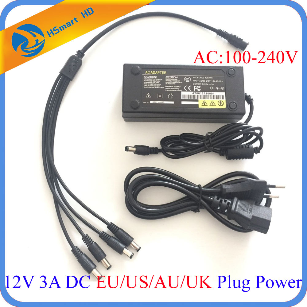 DC 12V 3A AC Power Supply Adapter 3000mA 4port Cable for LED Strips CCTV Security AHD TVI Mini wifi Camera DVR NVR Systems 4ch 12v 5a power cctv supply box for camera 4 port dc pigtail coat dc adapter