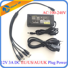 Hot DC 12V 3A AC Power Supply Adapter 3000mA 4port Cable for LED Strips CCTV Security AHD TVI Mini wifi Camera DVR NVR Systems