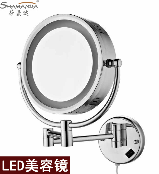 Free shipping High quality Solid brass chrome bathroom LED cosmetic mirror in wall mounted mirrors bathroom accessories free shipping wall mounted brass door stopper suitable for interior doors door holders for sale high suction 356g