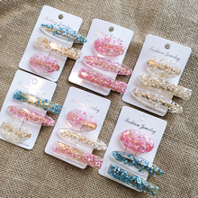 3 Pcs /lot Glitter Barrettes Hair Clips Female Hairpins for Women Clear Korean Gold Color Jewelry Ornaments Decoration