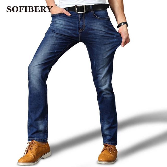 3c116225fc7 SOFIBERY HOT summer stretch jeans Slim Straight Men s large size jeans  casual trousers jeans famous brand