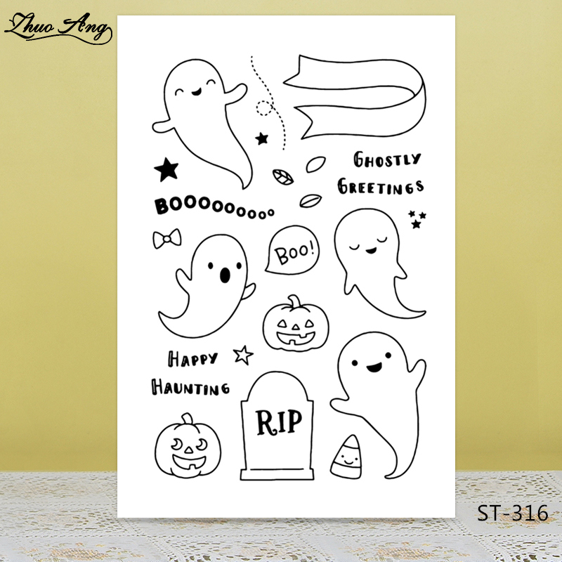 Ghost/halloween Transparent silicone Stamp for DIY Scrapbooking/Photo Album Decorative Card Making Clear Stamps Supplies