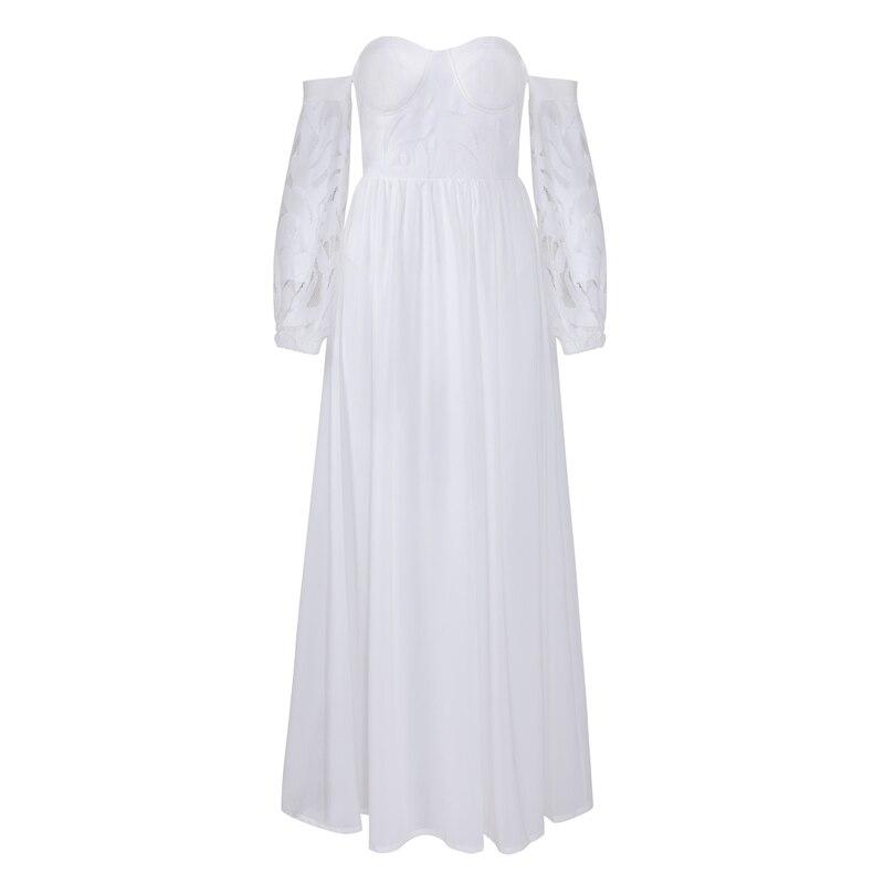 Robe Épaule Celebrity Parole Party Automne Dentelle Slash Dress Robes Bustier Sexy Off Longueur White Bqueen Cou 2019 PRwEYnq