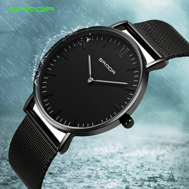 SANDA Luxury Brand Men Watch Ultra Thin Clock Male Quartz Sport Watch Men Waterp