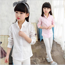 2016 new Autumn korean baby gril's shirt all-match cotton hollow out lace long sleeve lapel children clothing blouse sweet3-13Y