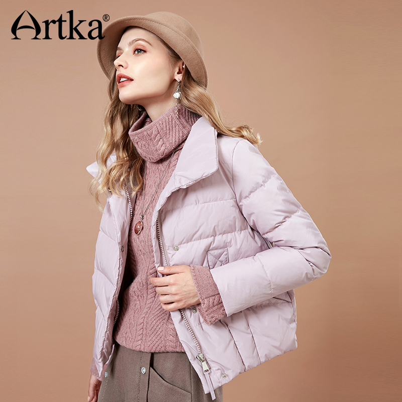 ARTKA 2018 Winter Solid Short Women   Down   Jacket Stand Collar Fashion 90% White Duck   Down     Coat   Female Thicken Warm Parka DK10186D