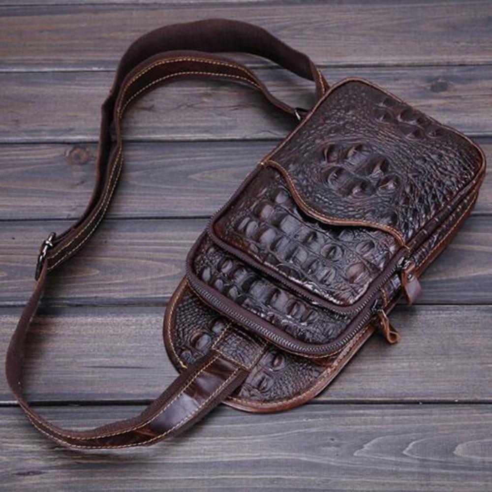 Noi bărbați de cea mai înaltă calitate din piele autentică din piele de primăvară pentru primăvară Primul strat de cowhide crocodil de stil de călătorie Sling Chest Day Pack
