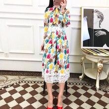 79beb6196073b عالية الجودة 2019 الربيع أحدث خمر أوراق طباعة خياطة مقوس دانتيل طوق كامل كم  منتصف العجل اللباس الأنيق المرأة الملابس