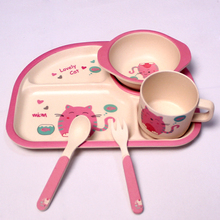Set di stoviglie in fibra di bambù per bambini Set 5 pezzi / set Piatto per tazza Cucchiaio forchetta per piatti Set per alimenti per bambini Set per bambini Alimentazione pratos