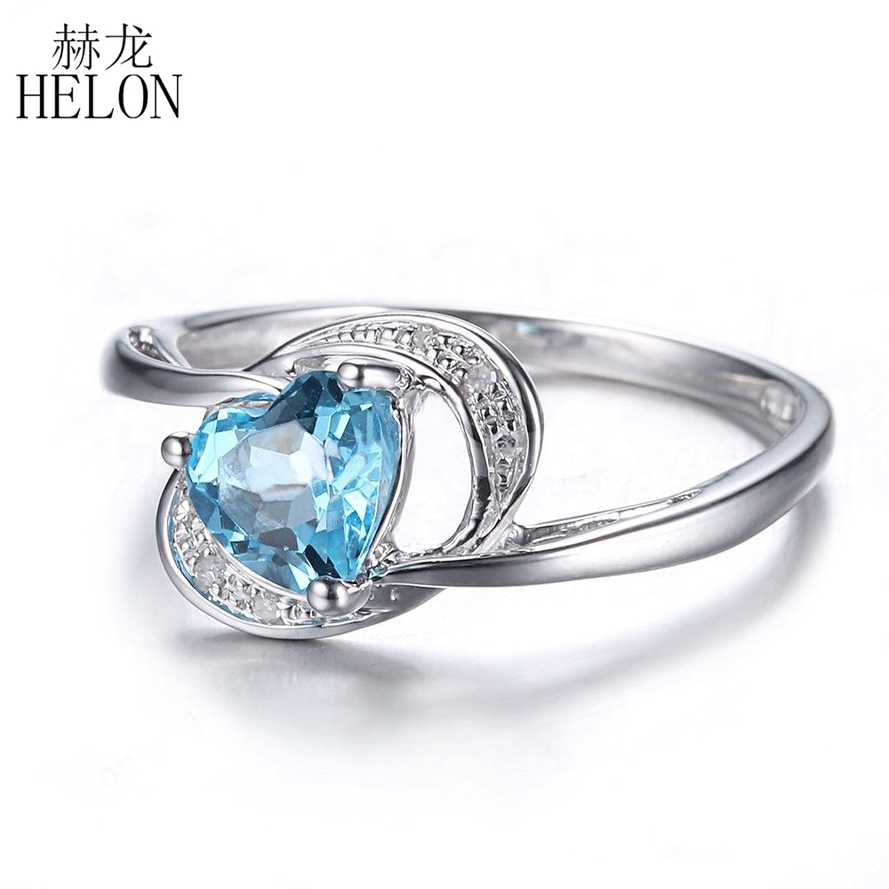 HELON Sterling Silver 925 Heart Shape 6x6mm real Blue Topaz Natural Diamond Engagement Wedding Trendy Fine Jewelry Ring For Love helon sterling silver 925 flawless 11x9mm emerald cut 4 36ct real blue topaz natural diamond engagment wedding ring fine jewelry