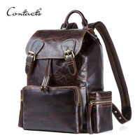 CONTACT'S crazy horse натуральной кожи мужской рюкзак средний Дорожная сумка Мода Большой рюкзак многофункциональный мужской ноутбук сумка для чело