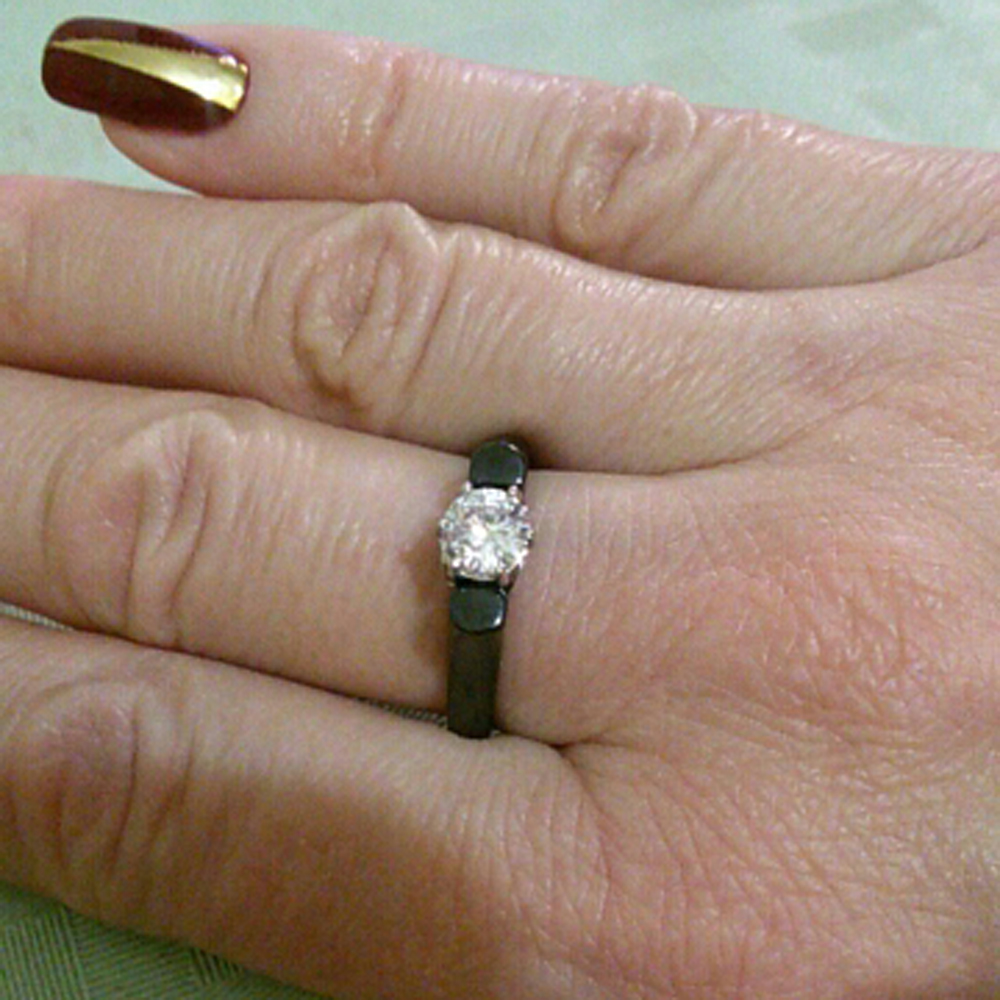 6MM Crystal Ceramic Ring Woman Cubic Zirconia Stone Black/White Color Women Jewelry Engagement Wedding Rings Gifts For Women 2