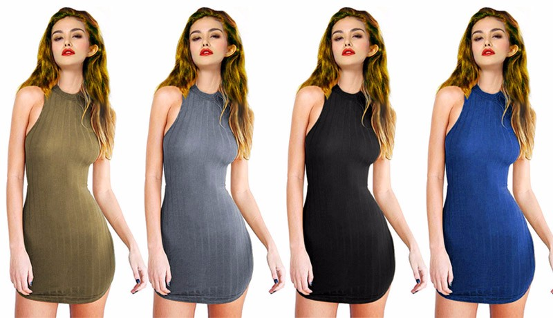 4bee290091a8 2017 Fashion Knitted Women Halter Bodycon Dress Slim Fit Olive Green ...