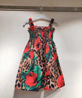 2Y-10Y 2019 new arrival kids leopard flower dresses for baby girls party dress princess