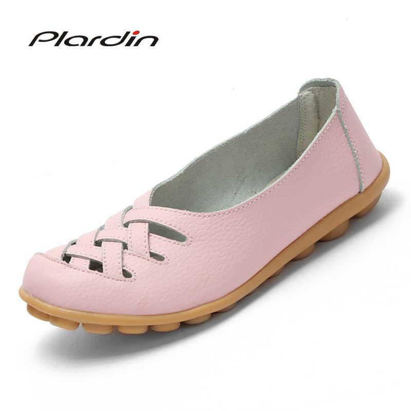 Plardin 2019 verano moda punta redonda mujer Flats mocasines cómodos Mujer Zapatos recortados ocio plano Mujer Zapatos Casuales