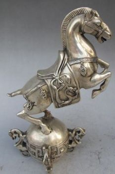 Elaborate Chinese White Copper Statue - Horse On Ball with Qing Dynasty Qianlong Mark