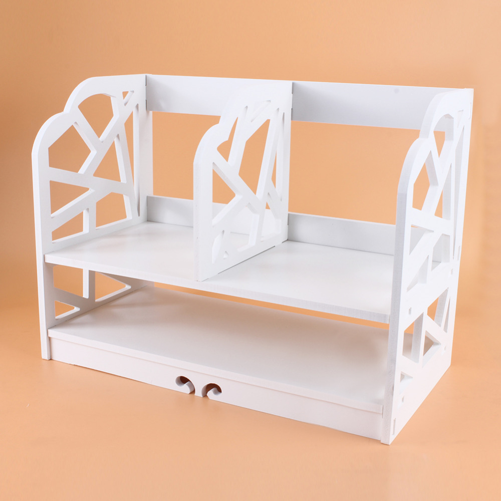 Image 3 - 2 Tiers DIY Shelving CD Book Storage Box Unit Display Bookcase Commodity Stationery Shelf  Student Desk Home Office-in Bookcases from Furniture