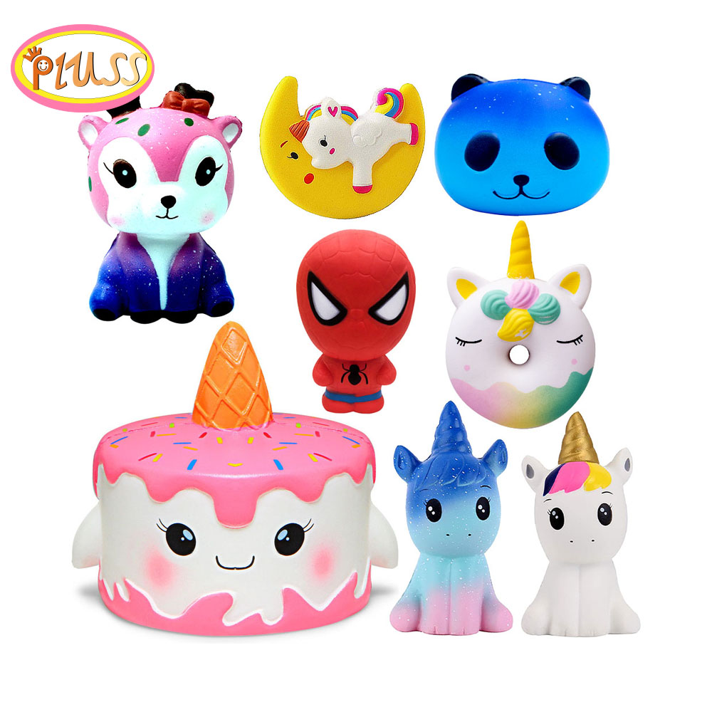 Cake Squishy Super Hero Spiderman Deer Squishies Toy Squeeze Squishi Toy Squishie Slow Rising Stress Relief Toy Kids