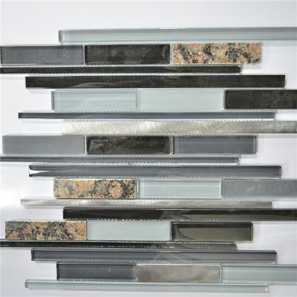 Dark Gray Black And Leopard Interlocking Metal Gl Marble Mosaic Tile Kitchen Backsplash Bathroom Wall Stg0158