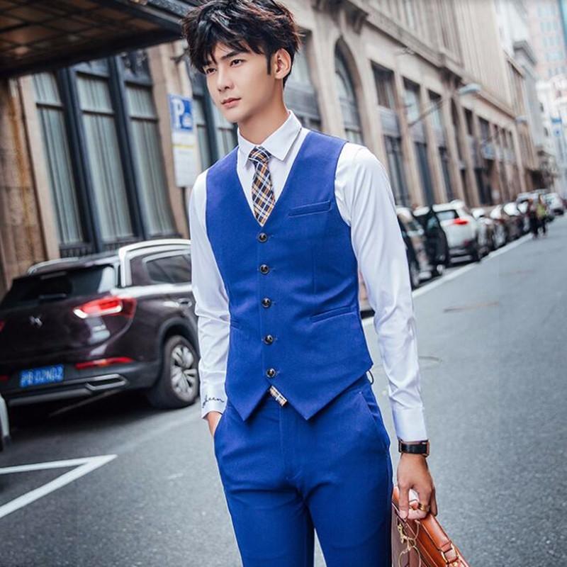8.1Blue men vest haute couture wedding tuxedos vest good quality gentleman groom best man prom feast dinner dress vest