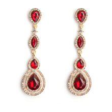 OLOEY New Fashion Long Earrings For Women Casual Party Female Crystals Dangle Earring Jewelry Accessories Gifts Ladies Hot
