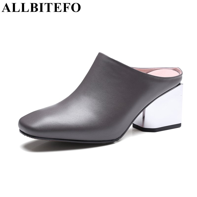 ALLBITEFO new fashion sexy genuine leather square toe thick heel women's shoes high heels women pumps girls high heel shoes women s high heels women pumps sexy bride party square heel square toe rivets high heel shoes