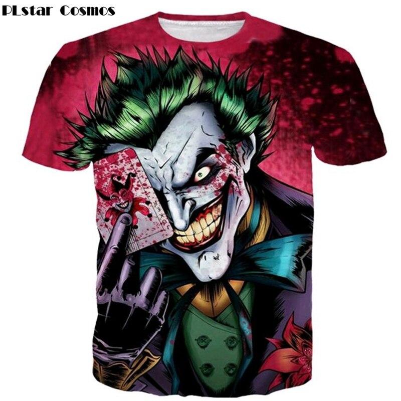 PLstar Cosmos 2017 new the Joker 3d t shirt funny comics character joker with poker 3d Print summer style casual t shirt