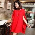 Alta calidad primavera verano 2014 Coreano más el tamaño de la moda vestido de gasa de maternidad vestidos de las mujeres del cabo del capote del vestido rojo negro D2692