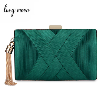 New 2018 Metal Tassel women Clutch Bag Chain evening bags Shoulder Handbags Classical Style Small Purse Day Evening Clutch Bags