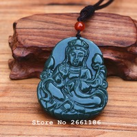 Natural Dark Green HETIAN Stone Pendant 3D Carved Guanyin Bodhisattva Lotus Pendant Necklace Men Nephrit Stone