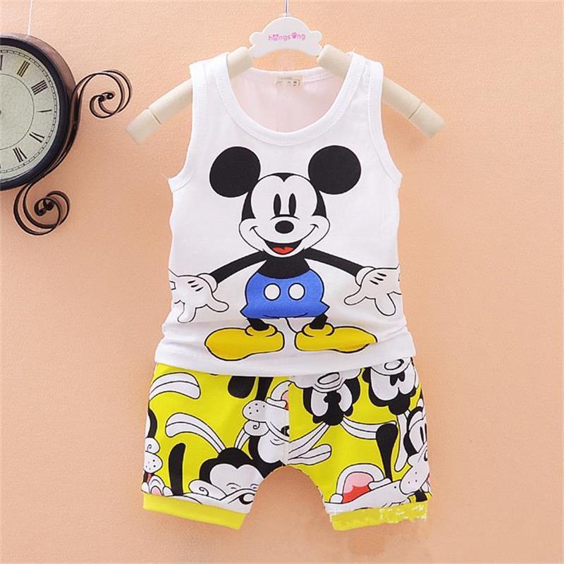 2015 new baby boys girls Clothes set Kid Minnie Vest +short pant summer style sport suit Children Clothing cartoon mickey craft